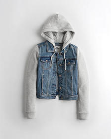 Hollister Hooded Denim Jacket, MEDIUM