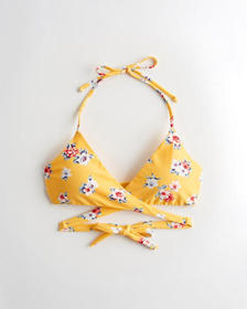 Hollister Wrap Triangle Bikini Top, YELLOW FLORAL