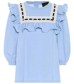 Marc Jacobs Cotton jersey ruffle top