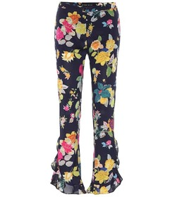 Etro Mid-rise floral stretch-silk pants