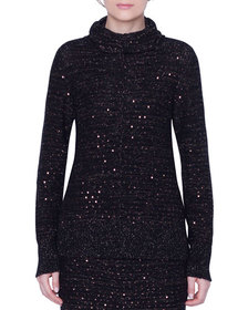 Akris Metallic Sequined Cowl-Neck Sweater