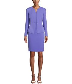 Anne Klein Crepe One-Button Collarless Peplum Jack