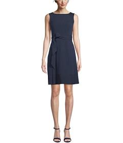 Anne Klein Seersucker Boatneck Fit-and-Flare Dress