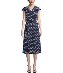 Anne Klein Open Envelope Collar Drawstring Dress
