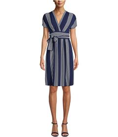 Anne Klein Bilbeo Stripe V-Neck Wrap Dress