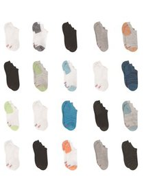 Hanes Boys Socks, 20 Pack No Show Super Value Size