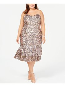 ADRIANNA PAPELL Womens Pink Sequined Spaghetti Str