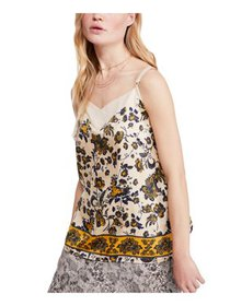 FREE PEOPLE Womens Beige Floral V Neck Tank Top Pe