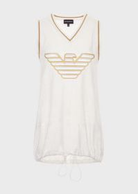 Armani Oversized, perforated-jersey tank top with