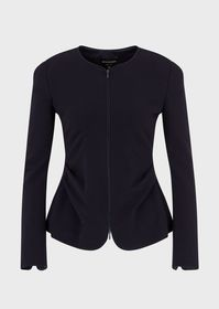 Armani Ottoman-effect jersey jacket with side plea