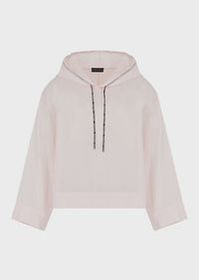 Armani Mixed cotton-and-silk, hooded blouse