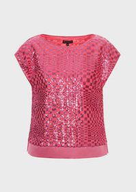 Armani Sequin-covered top with check optical motif