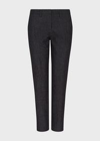 Armani Cigarette trousers in wrinkle-effect denim
