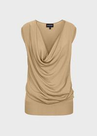 Armani Plain-knit top with draped neckline
