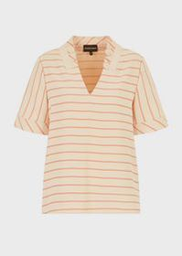 Armani V neck blouse with light cady ruches
