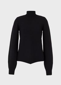 Armani Roll-neck, ottoman-effect sweater with puff