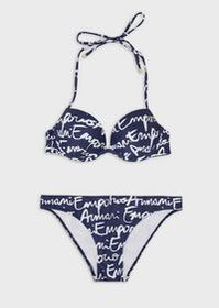 Armani Push-up bikini with logo mania print