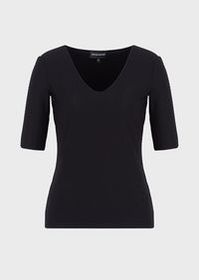 Armani Stretch jersey jumper with wave motif