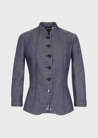 Armani Jacket in denim-effect linen blend fabric