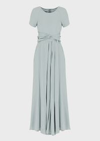 Armani Double silk Georgette long dress with sash