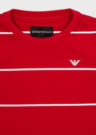 Armani T-Shirt in jersey interlock a righe con log