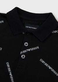 Armani Jersey polo shirt with all-over logo print