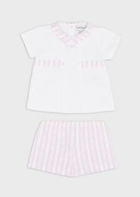 Armani Outfit with blouse and striped shorts with