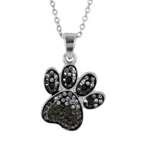 Womens Black and Silver Crystal Bear Paw Pendant