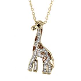 Womens Gold-Tone Crystal Giraffe Necklace