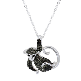 Womens Silver-Tone Crystal Monkey Pendant Necklace