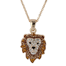 Womens Gold-Tone Crystal Lion Head Pendant Necklac
