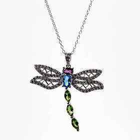 Womens Silver Plated Brass Multicolor Dragonfly Pe