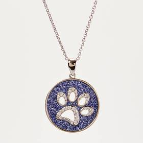 Womens 18in. Silver Plated Glitter Paper Paw Print