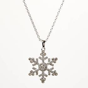 Womens Silver Plated Crystal Snowflake Pendant Nec