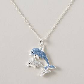 Womens Silver Plated Crystal Dolphins Pendant with