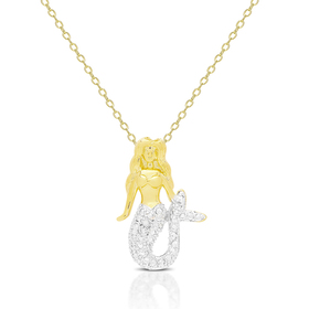 Womens Gold Overlay Diamond Accent Mermaid Necklac