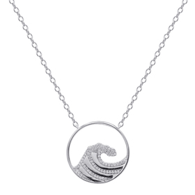 Womens Silver Plated Diamond Accent Wave Necklace