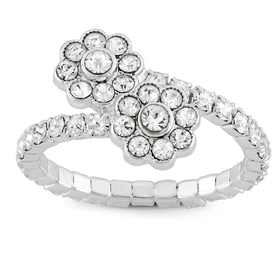 Womens Crystal Flower Coil Silver Statement Ring