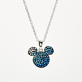 Womens Disney Silver Plated & Crystal Mickey Mouse