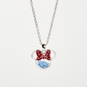 Womens Disney Silver Plate & Crystal Minnie Mouse