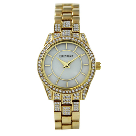 Womens Ellen Tracy Gold-Tone Mother Of Pearl Watch