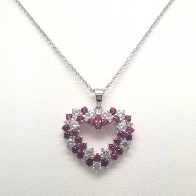 Womens Silver Plated Ruby Cubic Zirconia Heart Nec