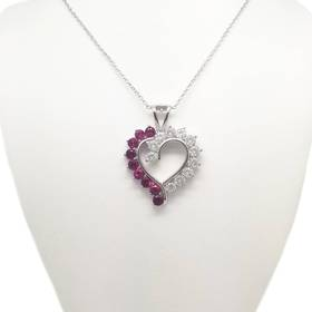 Womens Silver Plated Ruby & Cubic Zirconia Heart P