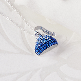 Womens Hershey Kiss Blue Pendant Necklace
