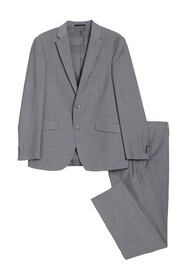 Kenneth Cole Reaction Grey Check Two Button Notch