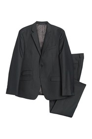 Perry Ellis Charcoal Twill Two Button Notch Lapel