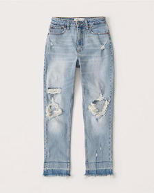 Curve Love High Rise Mom Jeans, LIGHT RIPPED WASH