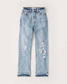 Ultra High Rise Ankle Straight Jeans, LIGHT RIPPED