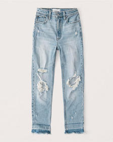 Ripped High Rise Mom Jeans, MEDIUM RIPPED WASH
