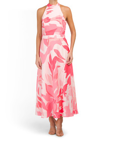 TAHARI BY ASL Watercolor Halter Maxi Dress